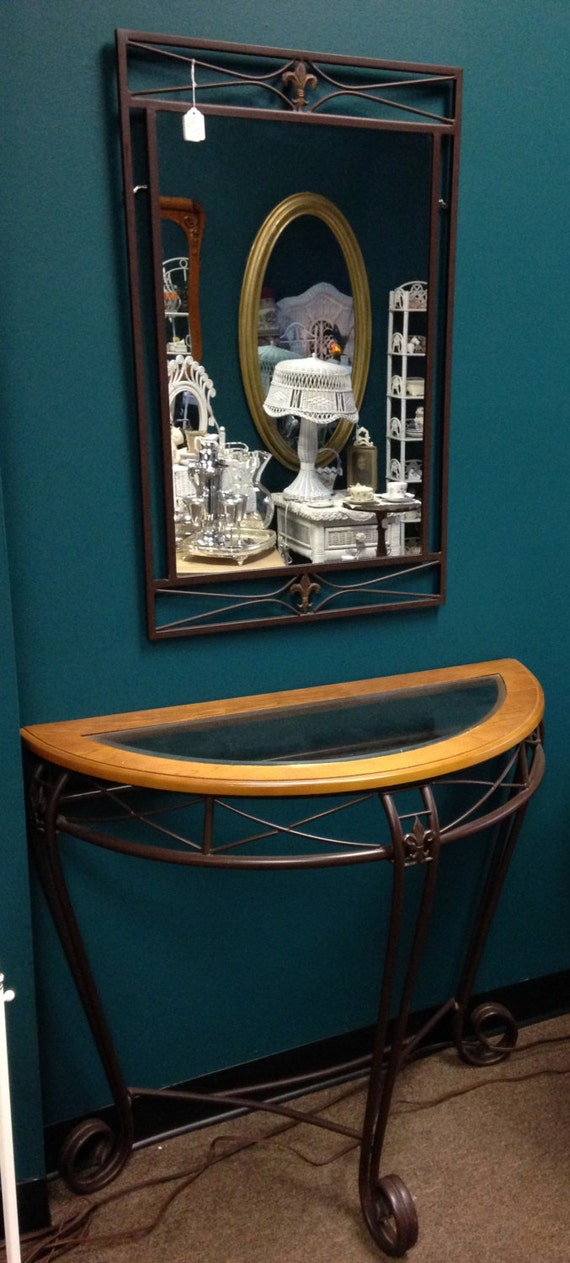 Metal Foyer Table Mirror : Items similar to local pickup wrought iron wood glass