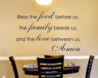 Kitchen Wall Decal   Family Wall Decal   Bless The Food Before Us Wall Decal    Part 96