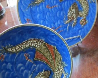 Nagoya China Moriage Blue Dragonware Plate and Saucer Set Hand Painted