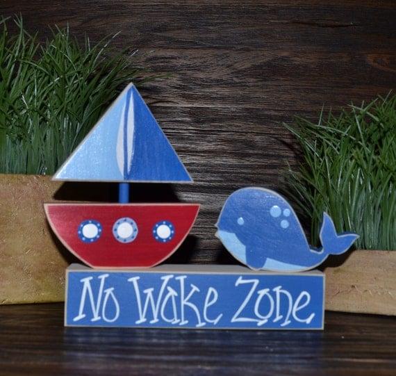 No wake zone nautical decor block set nautical nursery decor for Decoration zone