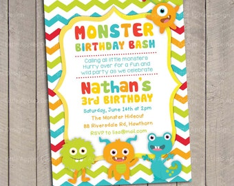 Monster Birthday Invitation Monster Party Invitation Little