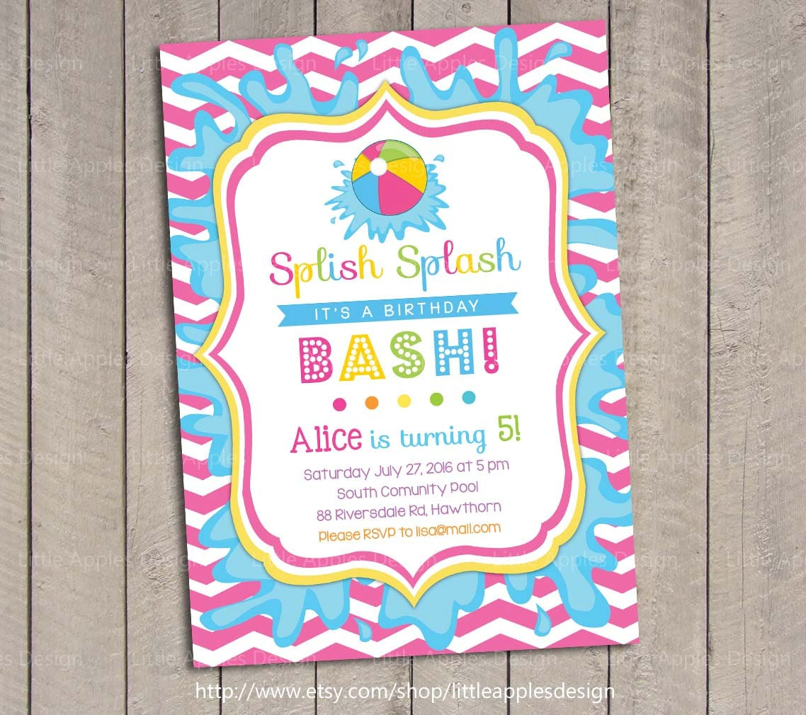 pool party birthday invitations announcements zazzle