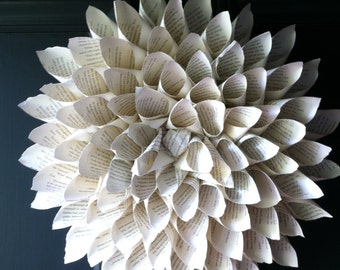 Pointed cone book page wreath, 18 inch diamater.