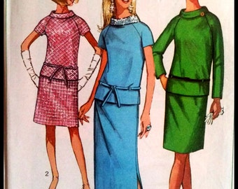 simplicity 7294  Misses' Two Piece Dress with skirt in two lengths  Size 16  UNCUT