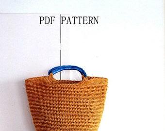 download PDF Pattern,Raffia bag pattern,tote pattern ,crochet bag pattern