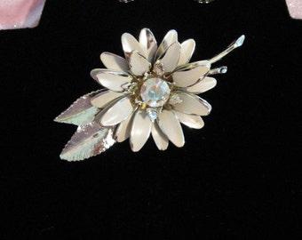 Vintage 1950s Flower Pin and Earring Set Rhinestones