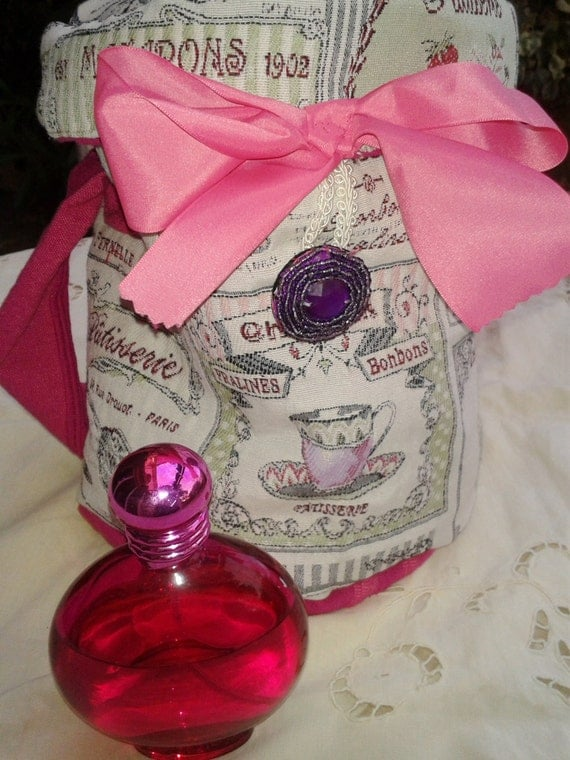 Pink Paris Vanity Case - Cupcake - Padded Pouch - Handmade - Bow - French Fabric - Pastries - Bonbons - Scriptures - Beaded Purple Button