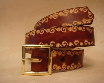 """Tooled Leather Belt - Custom Leather Belt - Personalized Leather Belt - Brown 1-1/2"""" NSS1 Pattern"""