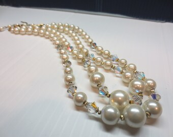 Vintage 2 Strand Faux Pearl and Crystal Necklace
