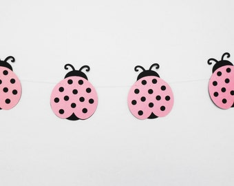 Pink LadyBug Garland--8 Feet Long--Girls Room Decor, Party Decoration, Nursery Decor, Photography Backdrop