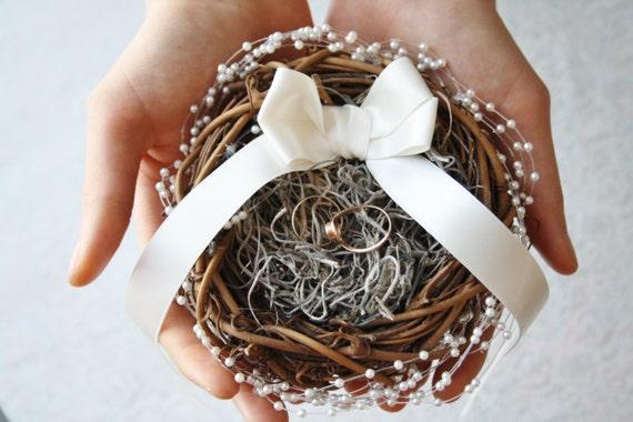 Ring bearer pillow alternative Rustic nest ring pillow ivory ring box Rustic wedding ring bearer nest pillow Woodland ring holder PUCK