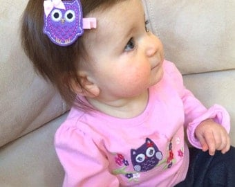 Sweet Purple and Pink Baby Owl Non Slip Hair Clippie