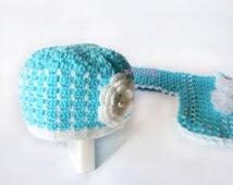 Teal Crochet Baby Hat, Crochet Girl Hats, white handmade ruffle and flower