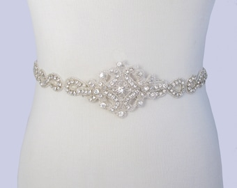 Infinity Crystal Satin Sash, Beaded Rhinestone Bridal Belt, Jeweled Wedding Dress Sash, Ivory Sash, Gown Belt, 35 Satin Ribbon Options