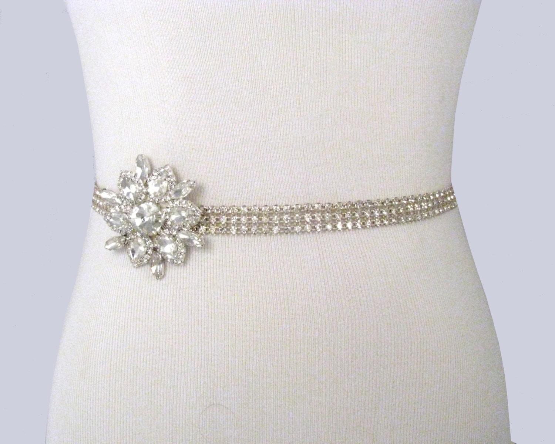 Wedding Sash Crystal Rhinestone Bridal Belt By
