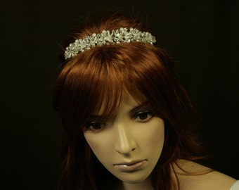 Pearl and Crystal Headpiece - Lorena Wedding Tiara with Bohemian Pearls and Rhinestones - Bridal Headband - Bridal Accessories
