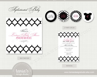 Sophisticated Shower Printable Baby Shower Party Package by tania's design studio