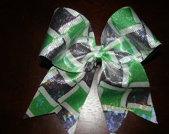 Lime Green and Black Patterned Cheer Bow