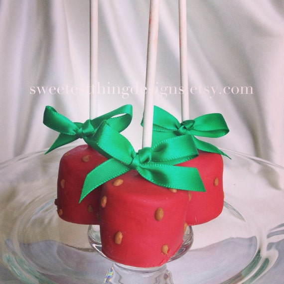 12 Strawberry Marshmallow Pops / Favor Pops by The Sweetest Thing Designs & Events