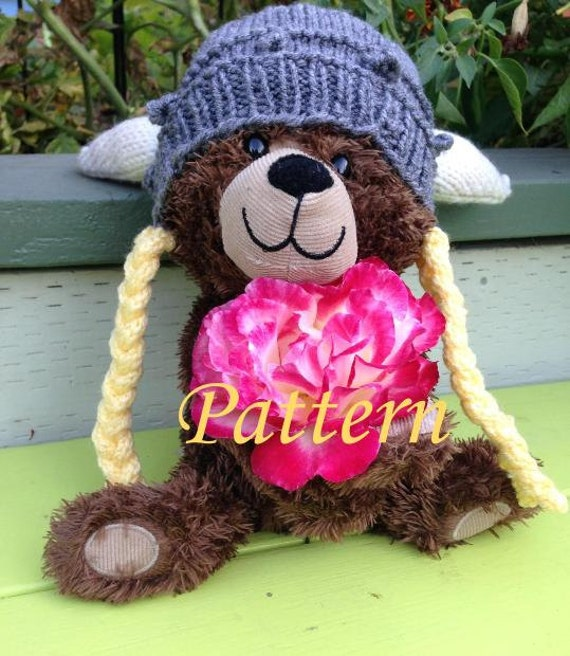 Bulky Knitting Machine Patterns : PATTERN Knit Viking Hat with Braids Premie to Adult Sizes