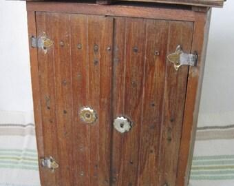 Vintage Handmade Wooden Folk Art - Miniature Of Home Doors, Bottle Box