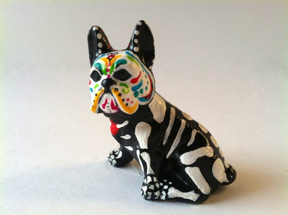 Day of the Dead Sugar Skull Boston Terrier Dog Ceramic Sculpture dia de los muertos dog pet memorial