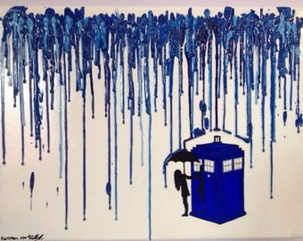 Doctor Who Melted Crayon Art (12x16 in)