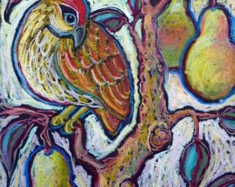 "8""x10""  Archival Print of Original Partridge-in-a-Pear-Tree Painting version1 - Twelve Days of Christmas -Endangered Species"