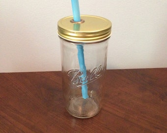READY TO SHIP: One Piece Wide Mouth Mason Jar Tumbler Lid & Reusable Straw