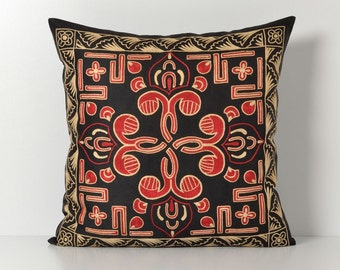 Suzani Pillows - 20x20 Black Red Hand Embroidery Vintage Silk Pillow - Decorative Pillows For Couch - Throw Pillow - Accent Pillow