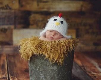 Newborn chicken hat - photography prop - rooster hat - farm hat - crochet baby hat