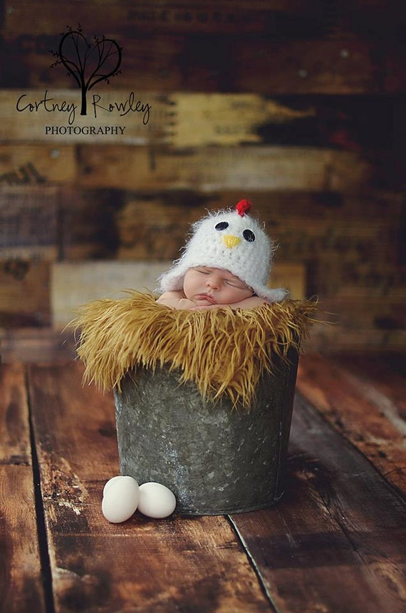Newborn chicken hat photography prop rooster hat farm