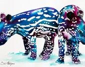 Original Watercolour Painting- Baby tapir,  animal, illustration, animal watercolor,