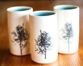 Made to Order : Cylinder tumbler, handleless coffe cup with silk screened tree image