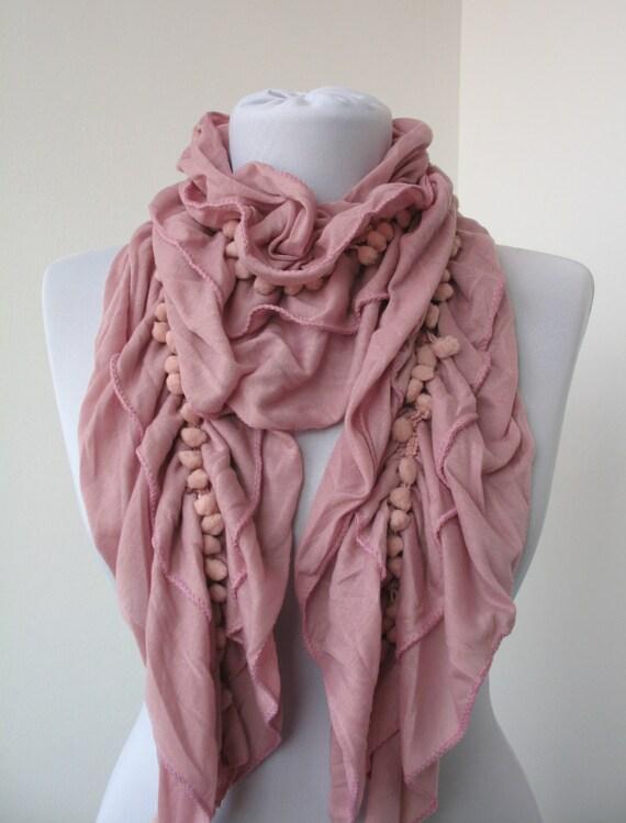 30 sale ruffle scarf frilly shawl pom pom