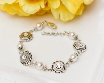 Bullet Casing Jewelry - Dainty Silver Pearl Bullet Bracelet (38 SPL / 40 / 357)