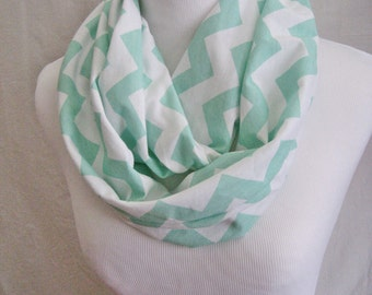 Mint Green Chevron Infinity Scarf - Pastel Easter Green on White cotton Jersey Knit - ChevronScarf