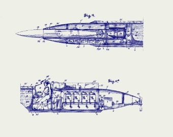 Retro Manned Submarine Torpedo Boat Blueprint 8x10 Digital Print