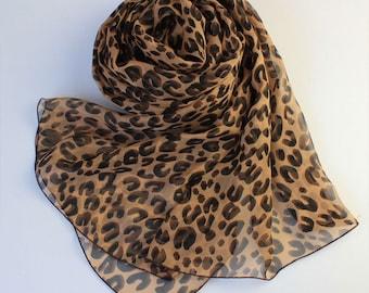 Brown Silk Chiffon Scarf with Leopard Print - Leopard Printed Silk Scarf - Animal Print Silk scarf -  AS43