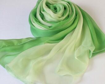 Green Gradient Color Silk Scarf - Green Silk Chiffon Scarf - AS60