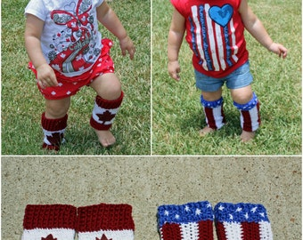 Crochet Patriotic 'Baby Legs' (for Canada or the USA)