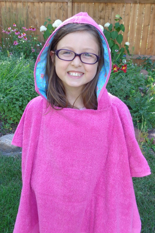 Girls Hooded Towel Poncho Personalized Kids Beach Towel