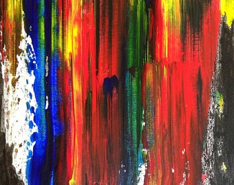 Original signed art painting-- abstract nonrepresentational acrylic and ink on canvas board-- bold and daring home decor-- one of a kind