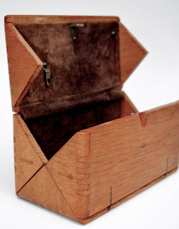 Antique Singer Sewing Oak Folding Wood Box