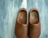 Vintage Wooden Dutch Shoes, Rustic Red Weathered Primitive Hand Carved, FREE SHIPPING, Use coupon code: BlackFridayVintage - NostalgicWarehouse