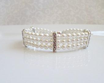 FREE United States Shipping 3 Strand Swarovski Pearl And Rhinestone Bridal Bracelet Multistrand Swarovski Pearl Bracelet