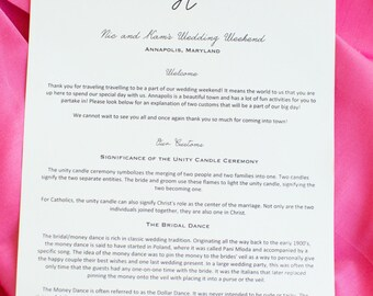 wedding welcome letter with traditions