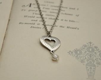 Hammered Heart Necklace with a Freshwater Pearl