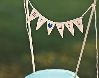 MR & MRS Wedding Cake Topper, custom color glitter hearts, bakers banner