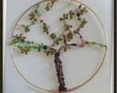 Suncatcher - Tree of Life - Large 12 inch hoop - Glass & Acrylic beads - Reserved